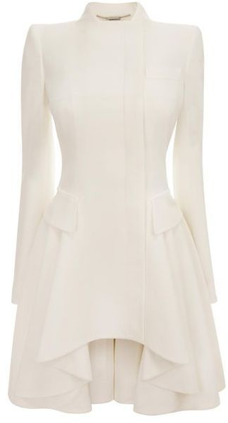 White Crepe Circle-Drape Dress-Coat - Lyst