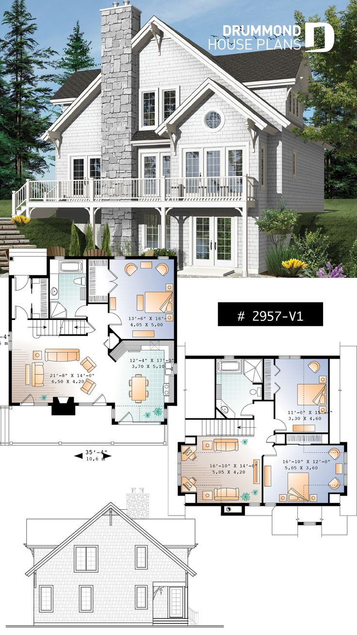 cottage plan with walkout basement 3 to 4 bedrooms open