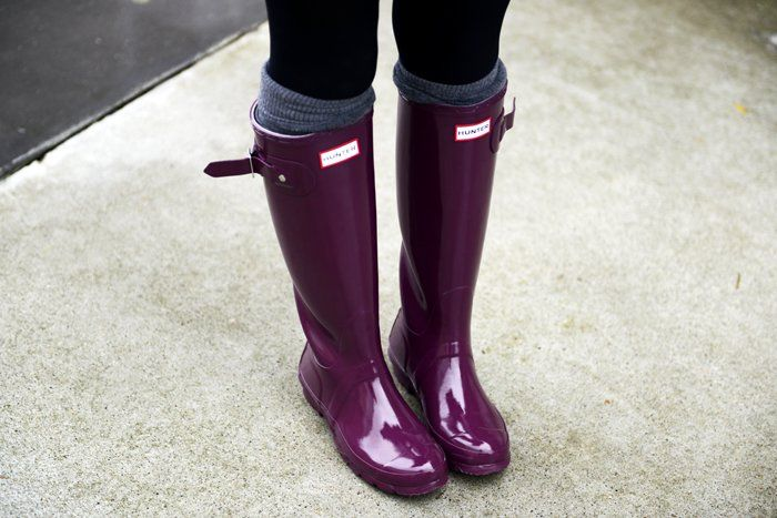 Dark Ruby Tall Gloss Rain Boots by Hunter
