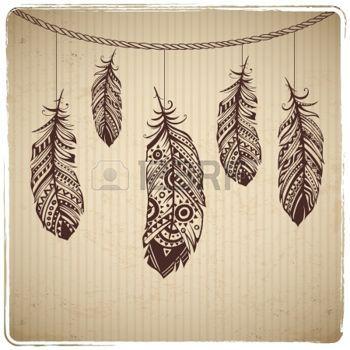 plumes: Coeur plume ethnique sur le fond en carton Illustration