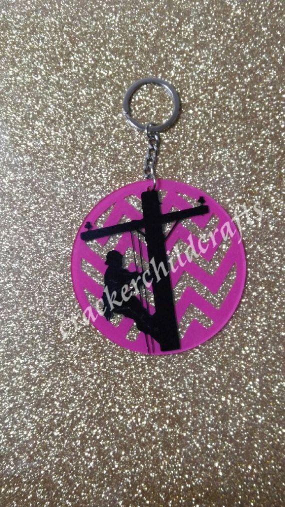 Chevron lineman keychain by CrackerChild on Etsy