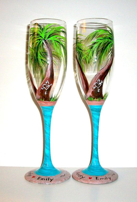 palm trees hand painted champagne flutes    beach wedding theme wedding anniversary handpainted