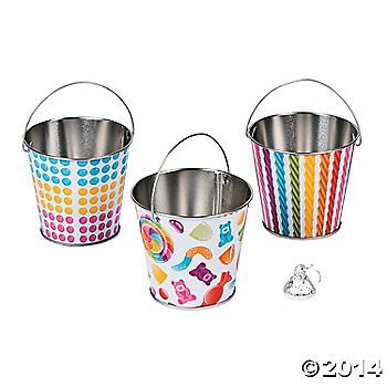 Use these metal Lollipop Lane Pails to add a burst of sweet fun to your candy buffet! Fill these cute metal pails printed with colorful candies with birthday ...