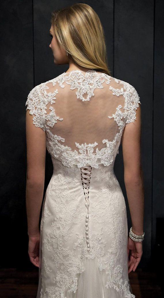Cap manche courte mariage Bolero dentelle veste par YourWeddingMall, $65.00
