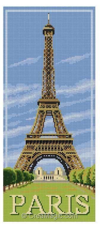 Image result for kit de broderie au point de croix SUR LA TOUR EIFFEL | Cross stitch bookmarks ...