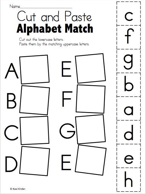 Alphabet Match A to E Free Worksheets Kindergarten