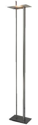 Emanu: Lampada da terra  Base e struttura in acciaio inox  Diffusore in vetro   dimensioni  H 195 cm  base 22x34 cm  diffusore 22x34 cm   struttura acciaio inox satinato  diffusore vetro extrachiaro satinato  lampada alogena 1 x max 250W