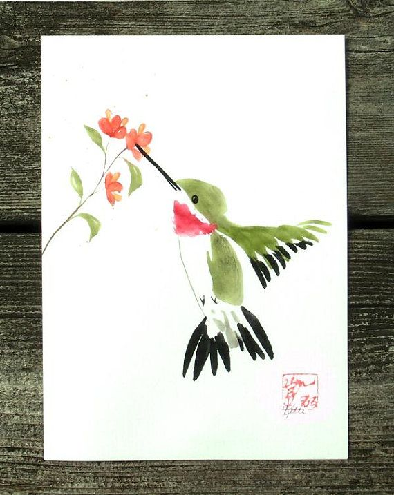 Ruby Throated Hummingbird Chinese Brush Sumi E Ink And Watercolor