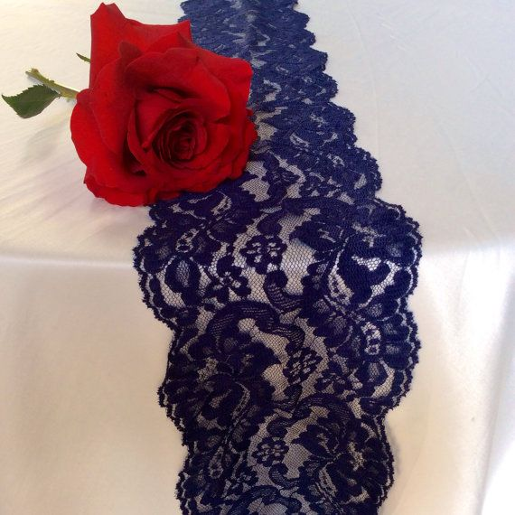 9ft Navy Blue Lace Table Runners 4.5in Wide X By LovelyLaceDesigns, $13.00