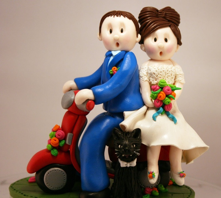 Cute Vespa Wedding Topper - Including sharp Mod Suit and Sixties Beehive! Xx
