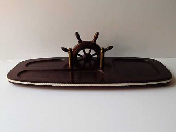 Vintage Men's Valet with Ship Wheel Sailing Rope and Gold