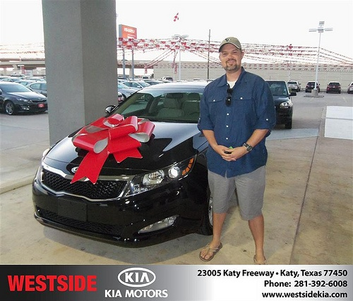 Westside Kia would like to say Congratulations to John Greene on the 2013 Kia Optima from Gilbert Guzman