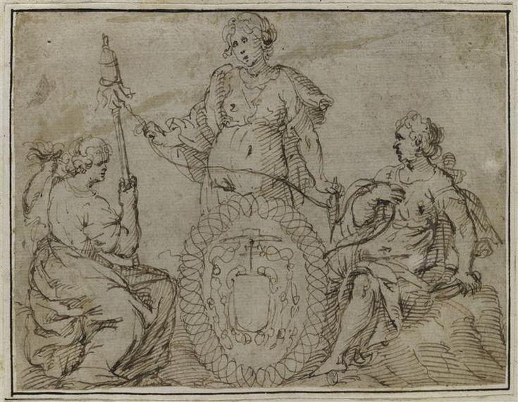 Anonyme italien 17°s. -  Les trois Parques entourant un cartouche aux armes d'un cardinal - Dessin