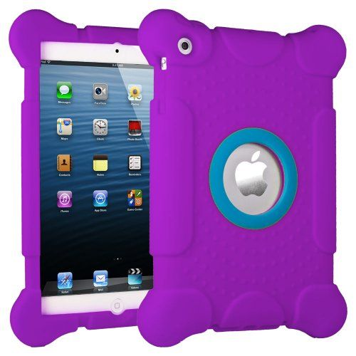 iPad mini Kids Fun Play Armor Protective Case - Purple Thick silicone cover with large corners. Cutout to display the Apple logo
