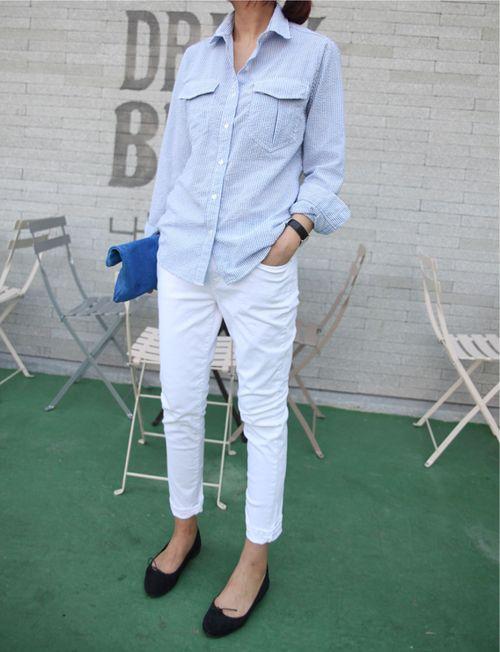 White jeans man shirt