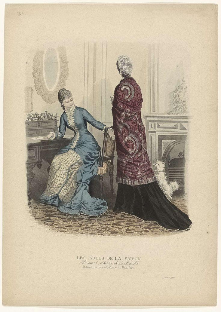 Anonymous | Les Modes de la Saison, Journal illustré de la Famille, 1880, 10e année, No. 577, Anonymous, 1880 | Vrouw, zittend achter een schrijftafel, kijkt om naar een vrouw en opspringend hondje. Zij draagt een hooggesloten japon met lange mouwen en puntig lijfje; rok met sleepje afgezet met twee gerimpelde stroken stof. Vrouw, op de rug gezien, met om de schouders een sjaal(?) afgezet met ruches. Rok met sleep. Hoed versierd met struisveren. Prent uit het modetijdschrift Les Modes de la…