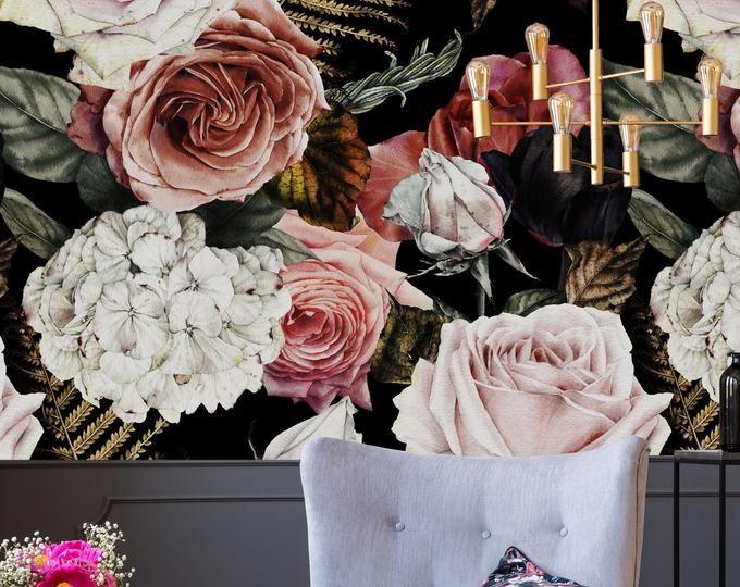 Large Flower Wallpaper Large Flower Mural Peel And Stick Wallpaper Floral Removable Floral Wallpaper Soft Roses Black Floral Wallpaper 75 Large Flower Wallpaper Flower Mural Flower Wallpaper