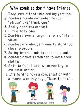 Teaching nonverbal skills to children with autism using a not-so-scary zombie theme...