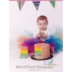 What could be more perfect for her first cake smash that a fun, colourful Rainbow Tutu  Available in Bright or Pastal Rainbow Colours!  We can custom make this tutu in any colour and size! Email u...