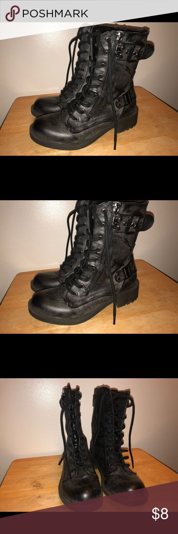 G by Guess Black Biker Boots G by Guess Black Biker Boots. Black with gray overtone. G by Guess Shoes Combat & Moto Boots