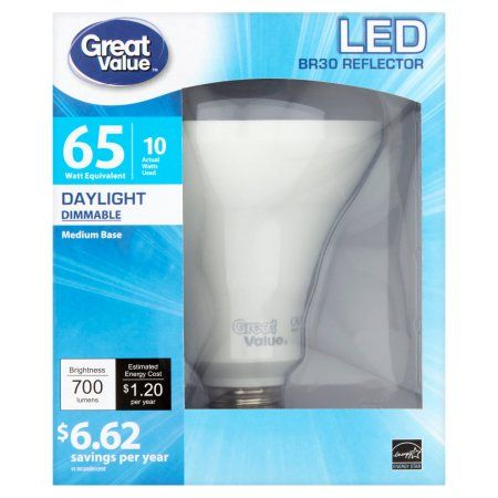Great Value LED Light Bulb 10W (65W Equivalent) BR30 (E26) Dimmable, Daylight, White
