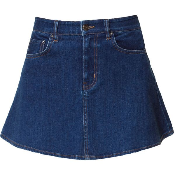 Zara Denim Skater Skirt ($20) ❤ liked on Polyvore featuring skirts, mini skirts, bottoms, denim, saias, blue, flared skirt, circle skirt, blue circle skirt and denim skater skirt