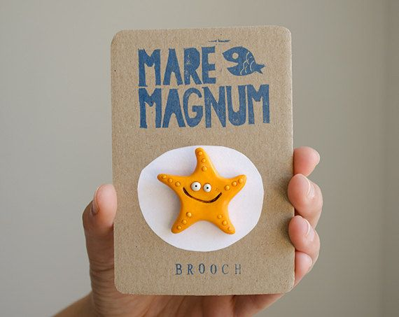 Sea star brooch pin kids stuff by maremagnum on Etsy. #starfish #seastar #kidsaccessories #forkids