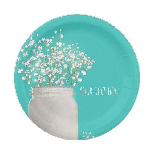 Turquoise Bridal Shower Mason Jar & Babys Breath Paper Plate