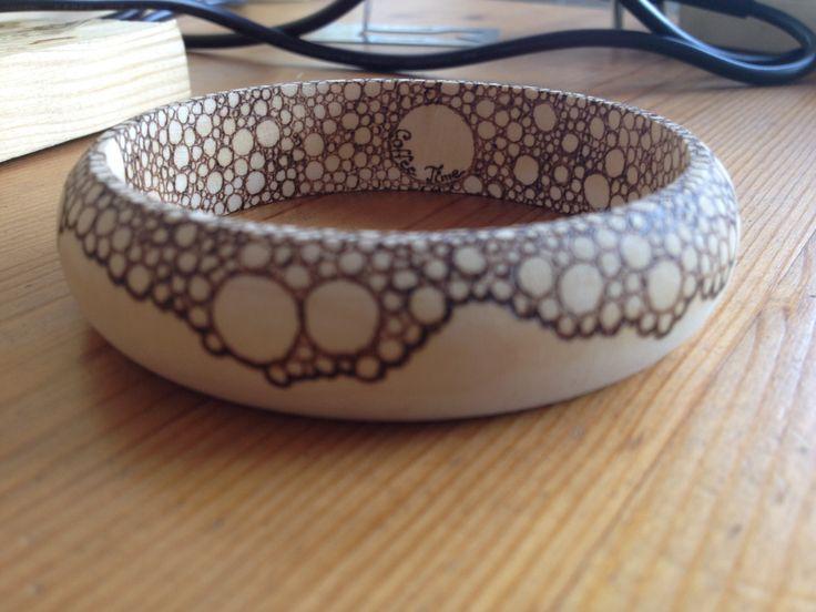 pirography bangle - coffee, white
