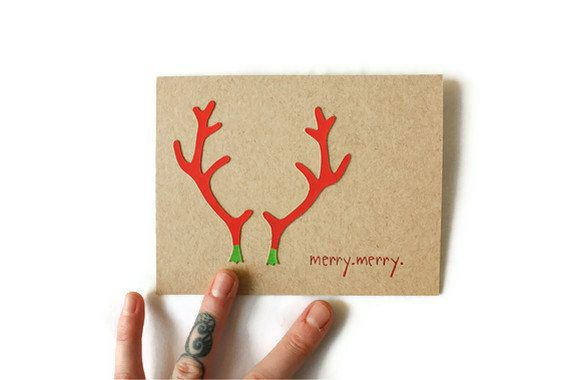 VERY MERRY Modern Antlers Christmas Greeting Card. $7.00, via Etsy.