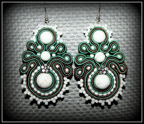 Handmade soutache earrings jewelry bead braid bijoux by margoterie, $30.00