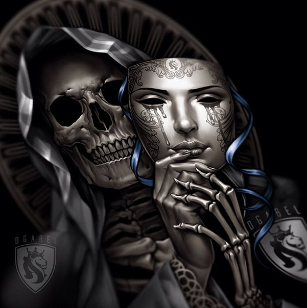 I like the idea of this with my face in colour on the mask and the skull with a lace veil