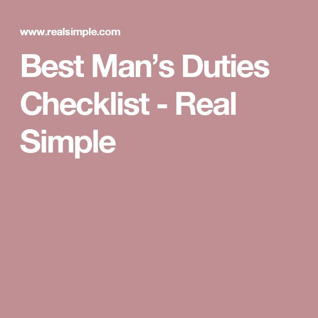 Best Man's Duties Checklist - Real Simple