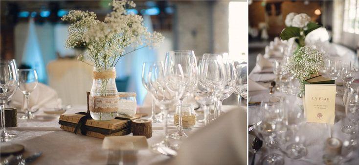 Vrai mariage / Mariage ambiance nature / décoration table des mariés / photo: Julien Briche