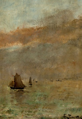 Fine Art Print of Fishing Boats at dusk by Alfred Stevens