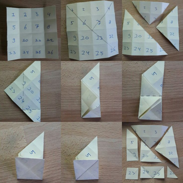 Folding the game Tangram from 16 squares. Easy for kids