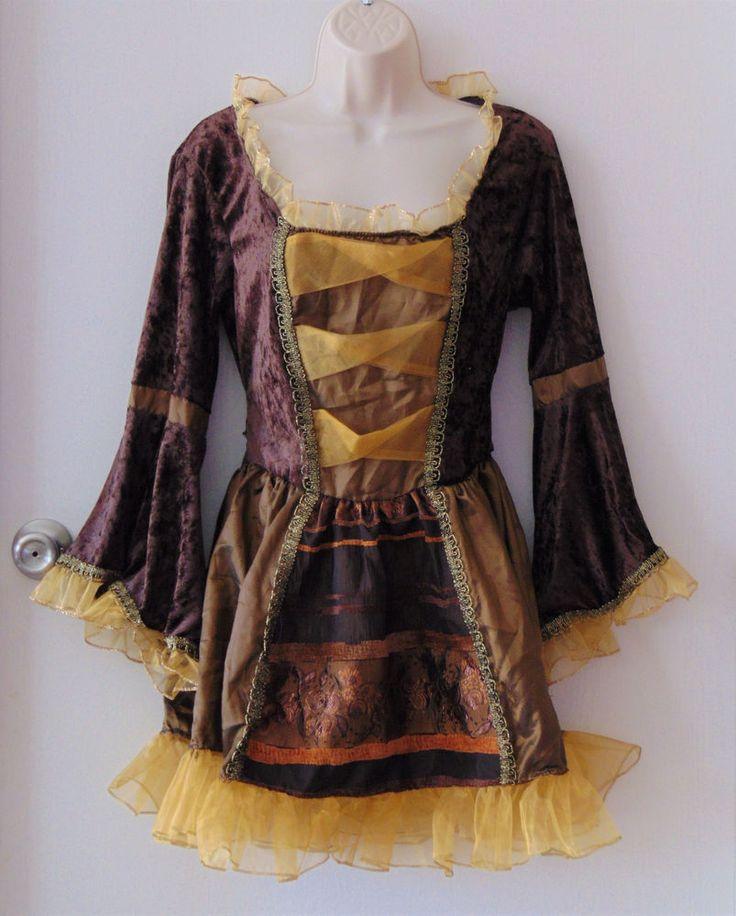Sassy Sexy Victorian Pirate Halloween Costume Brown Gold Velvet S/M (2-8) no hat #FunWorld #Dress #Halloween