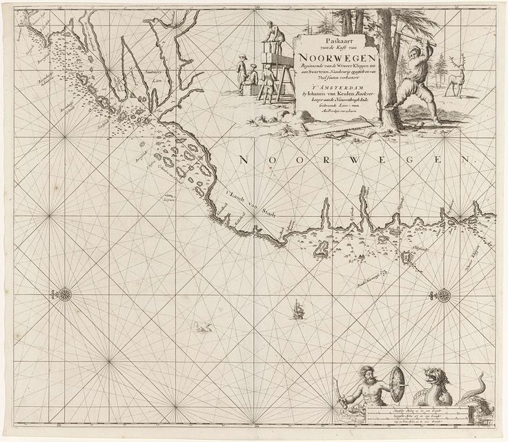 Jan Luyken | Paskaart van een gedeelte van de westkust van Noorwegen, Jan Luyken, Johannes van Keulen (I), unknown, 1681 - 1799 | Paskaart van een gedeelte van de westkust van Noorwegen, met twee kompasrozen, het Noorden ligt links. Rechtsboven een cartouche met de titel en het adres van de uitgever, waarnaast een houthakker bezig is om een boom om te hakken, op de achtergrond een hert. Links van de cartouche zagen drie mannen dikke planken hout. Rechtsonder een gewapende Triton in strijd…