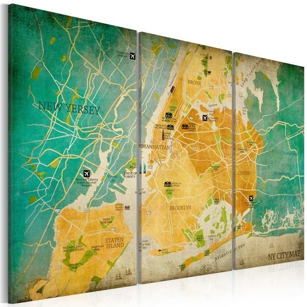 Quadro - Mappa di New York : distretti. Quadro su tela italiana di qualità deluxe. Alta definizione di stampa e bordi rivestiti. Pronto da appendere.Cm 120x80 a €97,99 #quadrivintage #quadriretro #shabby #vintage #ilydecor