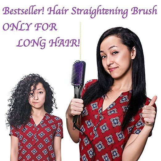 Hair Straightening Brush for Long Hair - Ceramic Straightener with Anti-Scald Hair Comb Teeth - Electric Hot Anti-static Brush - Forget about Frizz and Flyawaysa - http://amzn.to/2s7Ywpj