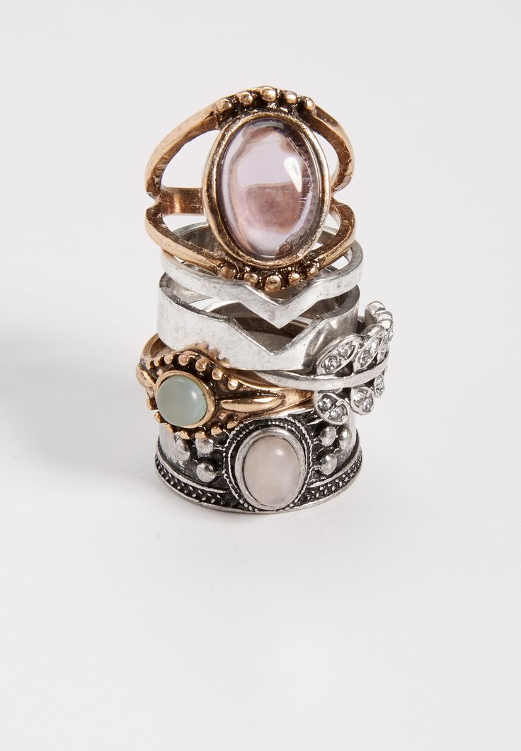 On my wish list #wishpinwinsweepstakes #discovermaurices -- mixed metal ring set with amethyst and rose quartz stones (original price, $14.50) available at #Maurices