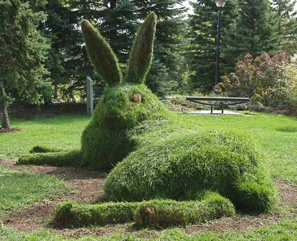 "Great Hare, 2011, soil & turf, 15""long  by Mary Catherine Newcomb, Kitchener, Ontario  check out her work here:  www.worldofthreadsfestival.com"