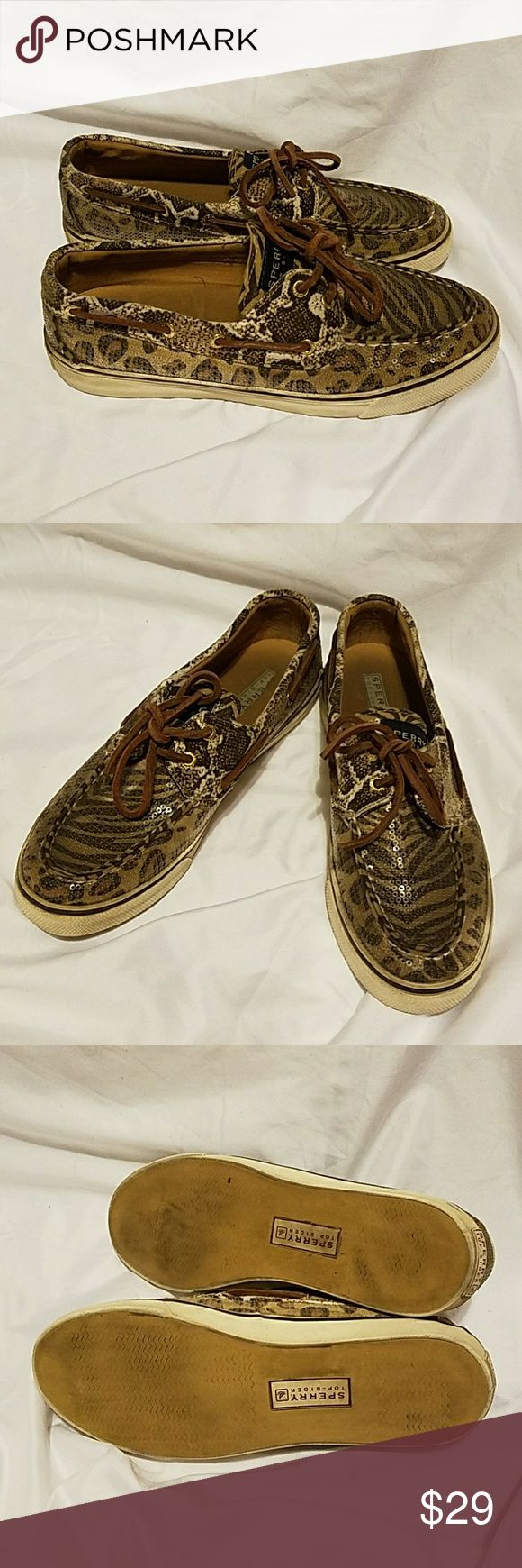 Sperry top- sider Shoes. Sperry top sider shoes.Size 7.5.Animal print,sequins.used some sign of wear foot print,and need cleaning.Still in a good condition.Make me an offer. Sperry Top-Sider Shoes