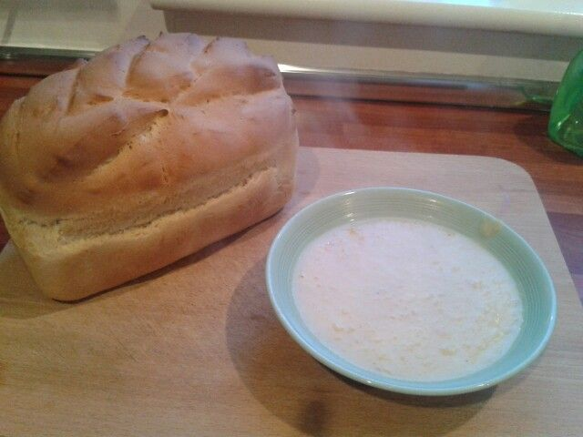 Home made bread and leek and potato soup. Delicious!