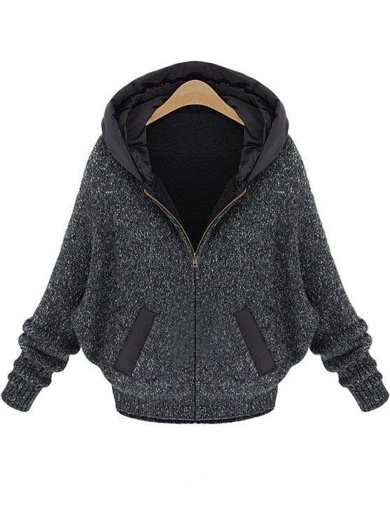 Dark Grey Batwing Sleeve Hood Sweater Coat US$39.34
