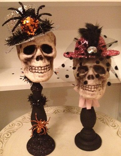 pretty in pink skull halloween decoration halloween by jeanknee - Pretty Halloween Decorations