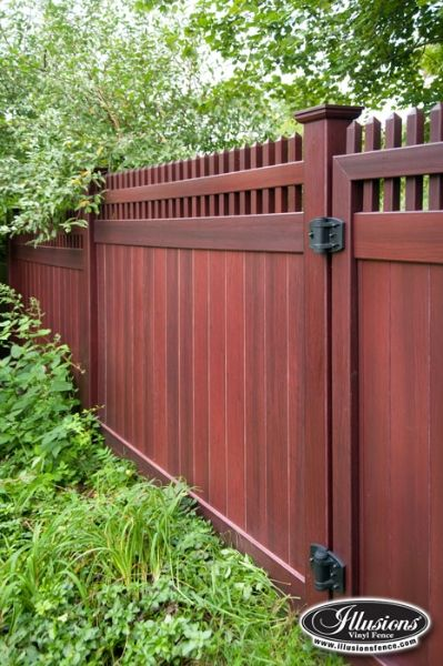 Illusions Vinyl FenceIllusions Vinyl Fence Grand Illusions Vinyl WoodBond Mahogany (W101) T&G Vinyl Privacy Fence with Straght Top Classic Victorian Picket Topper. Looks like real wood and never needs any touch-ups. V3700-6  http://www.illusionsfence.com/photo-gallery/