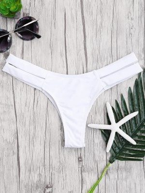 Bandage Cut Out Bikini Bottoms - White S