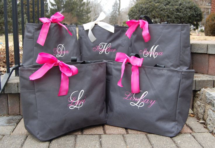Personalized Bridesmaid Totes Monogrammed Bridal Party Gifts Bride Maid of Honor. $16.00, via Etsy.