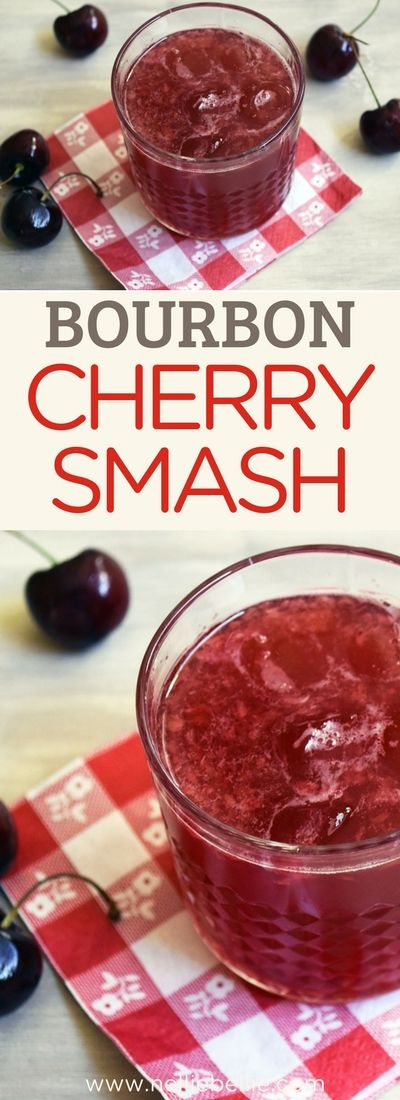 This Bourbon Cherry Smash is an easy bourbon cocktail that is refreshing and full of sweet cherries! via @huttonjanel